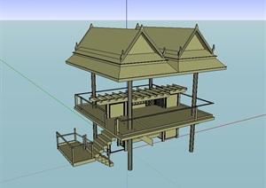 东南亚观景凉亭SU(草图大师)模型