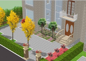 住宅小院设计SU(草图大师)模型