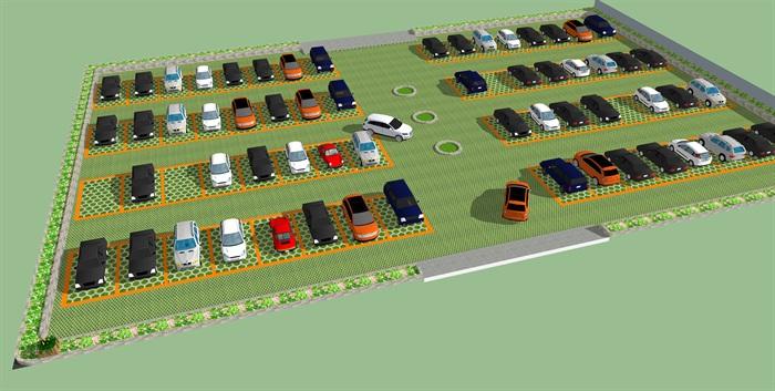生态停车场设计设计su模型