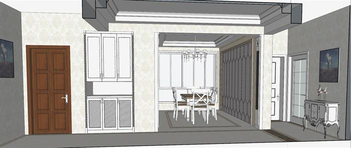 简欧风格住宅家装设计su精细模型