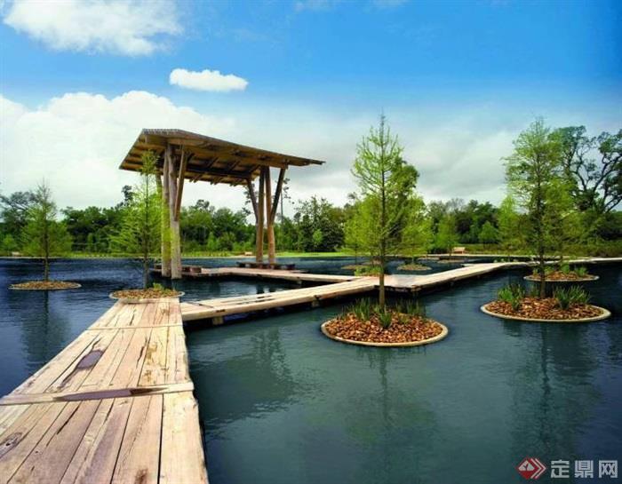 廊架,水池,木桥,树池