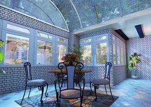 住宅室内屋顶花园设计3d模型含效果图