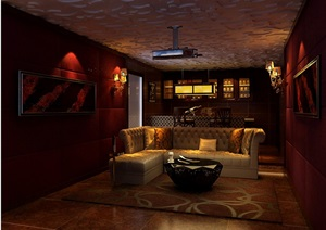 家庭电影院设计3d模型