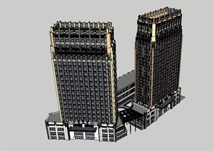 现代商业办公建筑楼SU(草图大师)模型