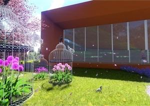 精品鸟笼设计SU(草图大师)模型及效果图