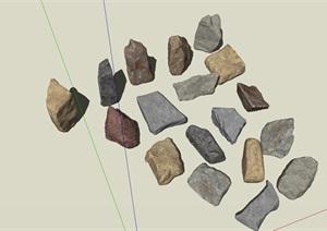 各种各样的精美石头SU(草图大师)模型