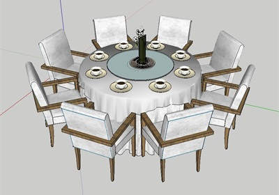 室内空间详细餐桌椅组合设计su模型