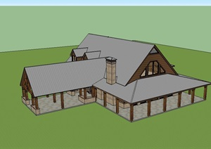 英式私人别墅建筑设计SU(草图大师)模型