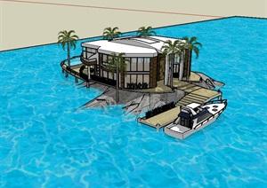 现代岛屿私人别墅SU(草图大师)模型