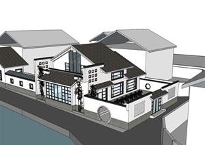 中式私人住宅别墅SU(草图大师)模型
