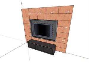 现代室内电视背景装饰墙设计SU(草图大师)模型