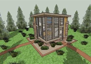 现代简单的森林居住建筑SU(草图大师)模型