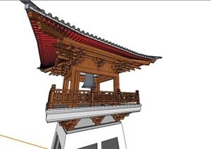 中国式传统鼓楼亭子SU(草图大师)模型