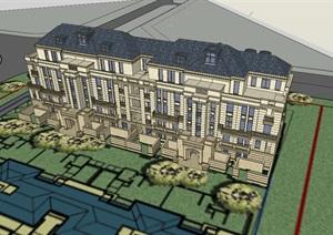 美式完整的详细小区别墅设计SU(草图大师)模型