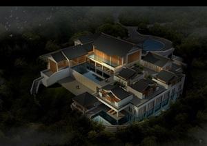 中式休闲会所建筑设计psd效果图
