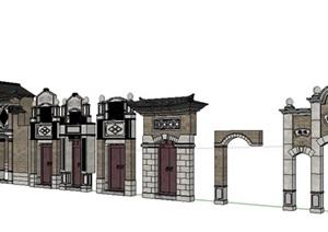 中式門頭建筑構件素材SU(草圖大師)模型