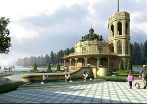 法式独栋详细别墅设计psd效果图