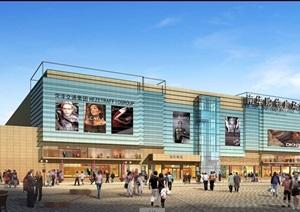 现代购物广场建筑设计psd效果图