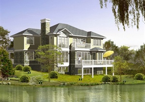 欧式坡地独栋别墅cad方案设计