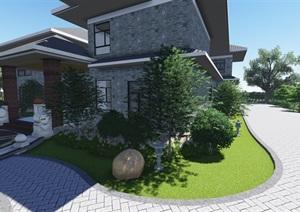 中式风格别墅庭院景观设计效果图