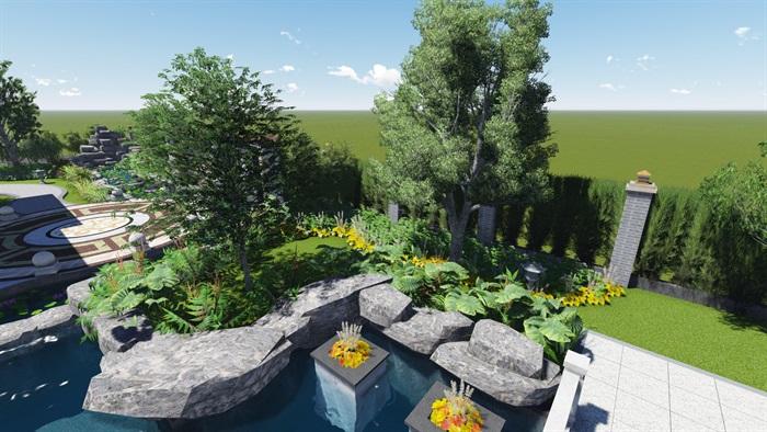 中式风格别墅庭院景观设计效果图(3)