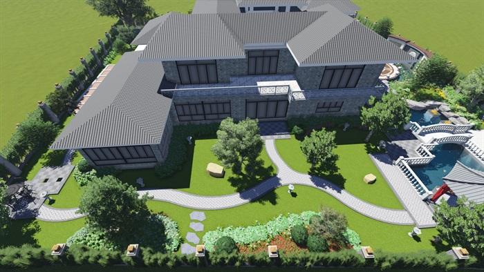 中式风格别墅庭院景观设计效果图(4)
