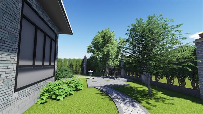中式风格别墅庭院景观设计效果图(5)