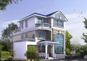 某独栋美式风格别墅建筑cad施工图及效果图