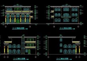 现代独栋别墅设计精美cad方案图