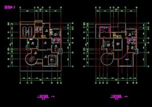 独栋两层别墅设计cad户型图
