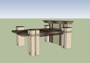 中式风雨廊设计SU(草图大师)模型