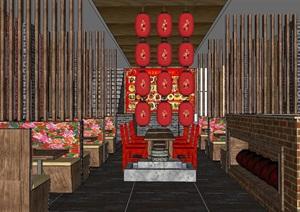 农家餐厅饭店空间SU(草图大师)模型