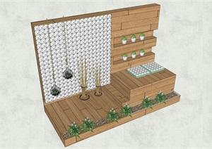 木质花墙详细设计SU(草图大师)模型
