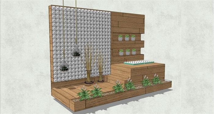木质花墙详细设计SU模型