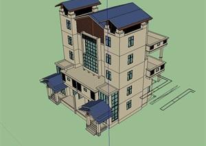 双拼别墅住宅建筑设计SU(草图大师)模型