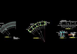 弧形廊架详细设计cad施工详图