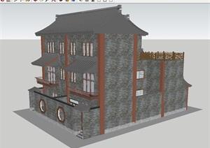 民国风格双拼别墅建筑方案SU模型