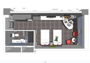 现代酒店标准房室内SU(草图大师)模型