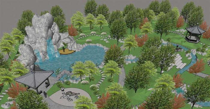 精品园林小景观SU模型(1)