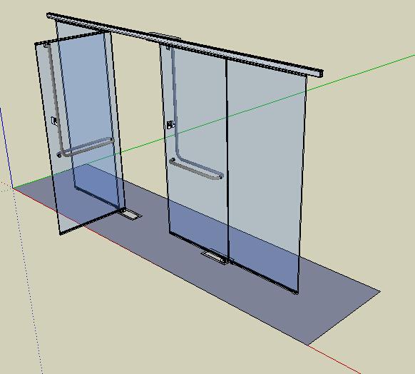 某現代詳細玻璃門設計su模型