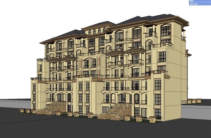 四种不同风格的多层洋房住宅楼建筑su模型(1)
