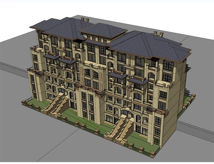 四种不同风格的多层洋房住宅楼建筑su模型(3)