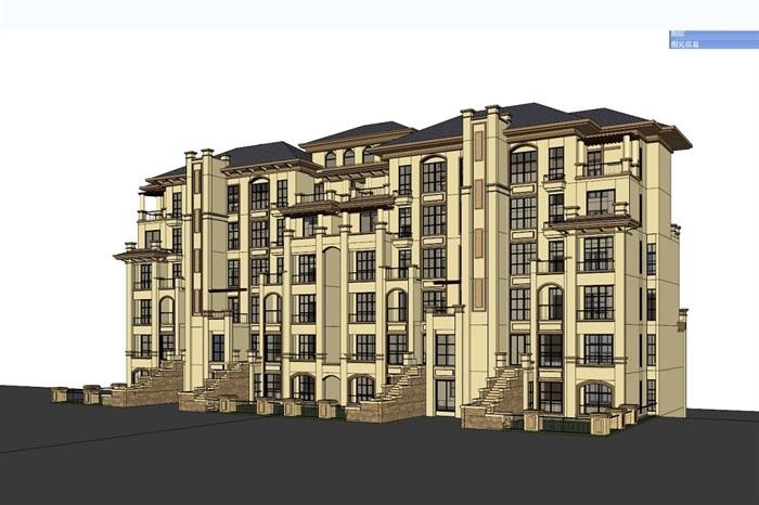 四种不同风格的多层洋房住宅楼建筑su模型(2)