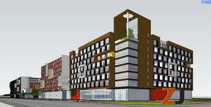 四种不同风格的多层洋房住宅楼建筑su模型(6)