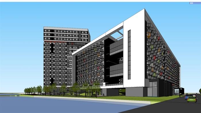 四种不同风格的多层洋房住宅楼建筑su模型(8)