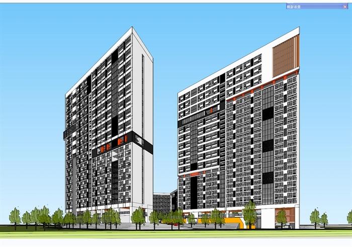 四种不同风格的多层洋房住宅楼建筑su模型(9)