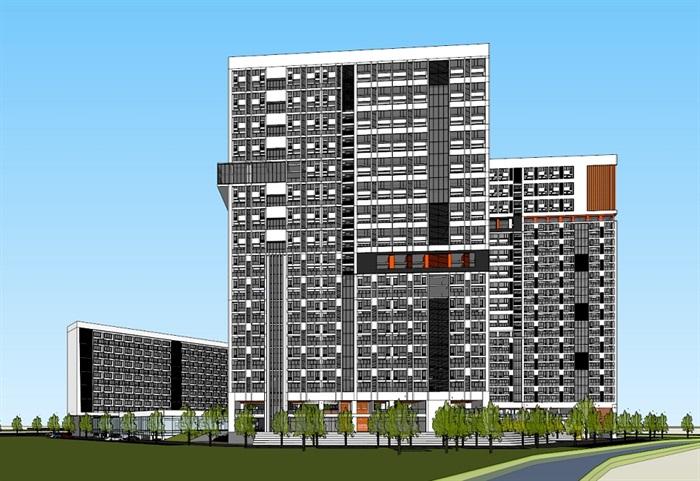 四种不同风格的多层洋房住宅楼建筑su模型(10)