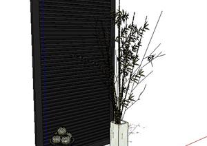 某现代室内装饰墙体设计SU(草图大师)模型