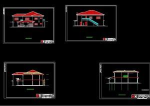 2层坡屋顶别墅建筑cad方案