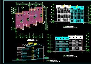 中式三层别墅cad方案图纸